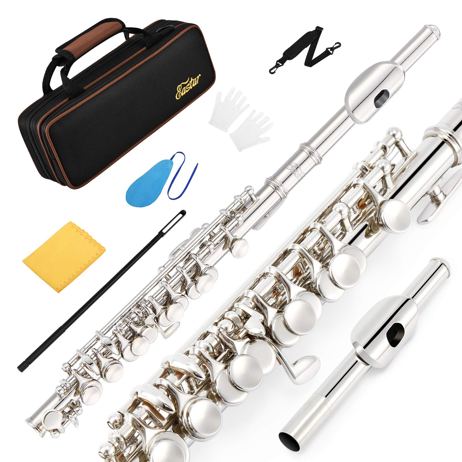 Eastar EPC-2S Silver Plated Piccolo Key of C 2-Piece With Hard Case Fingering Chart, Cleaning Rod, Cloth, Swab and Gloves