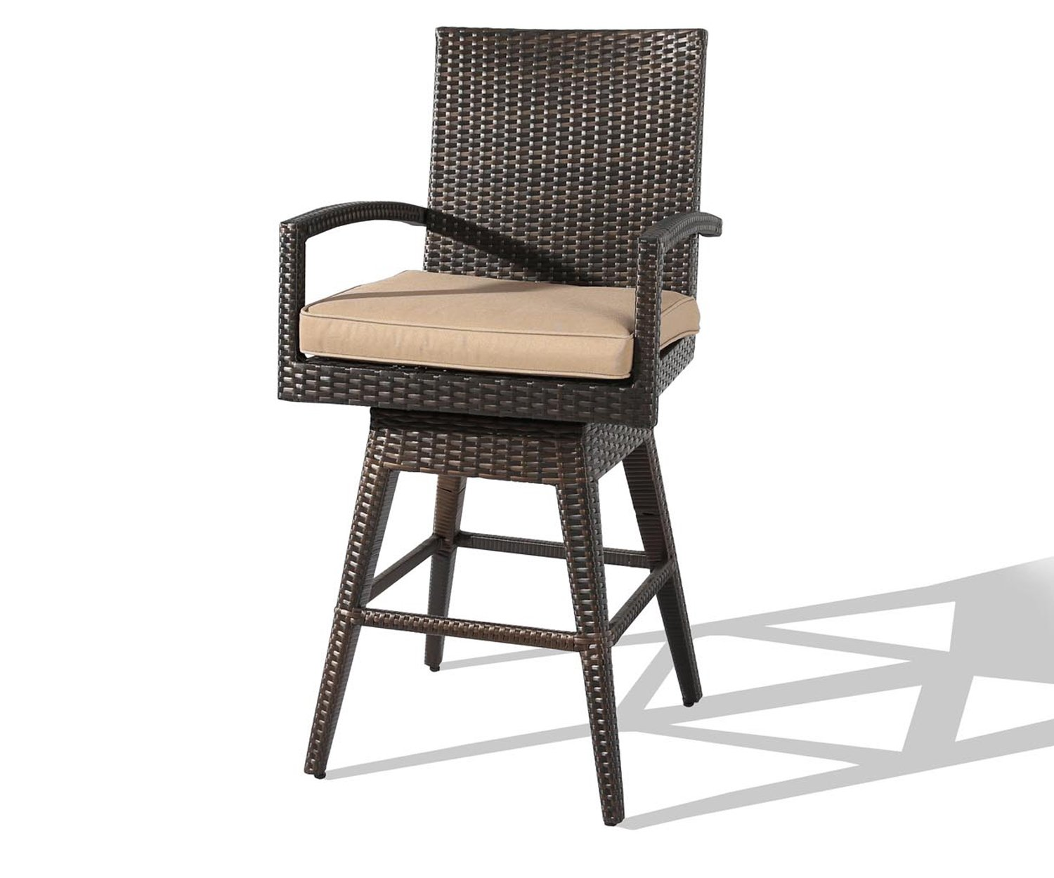 Ulax furniture Outdoor Patio Furniture All-Weather Brown Wicker Swivel Bar Stool with Cushion by Ulax furniture