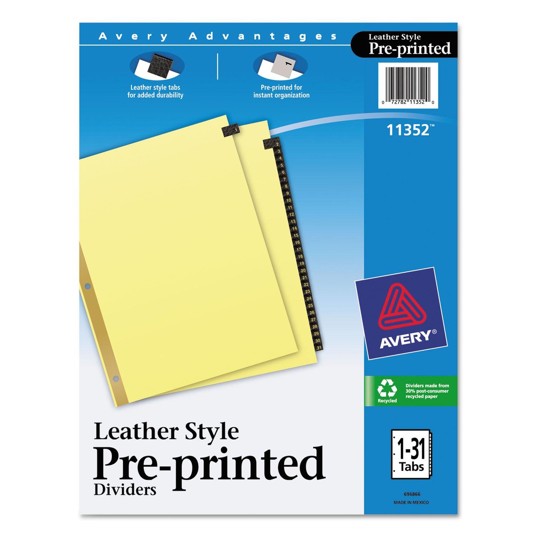 Avery 11352 Black Leather Tab Dividers, 1-31 Tabs, 8.5 x 11, Buff, 31 Tabs/Set