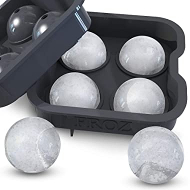 Housewares Solutions Froz Ice Ball Maker – Novelty Food-Grade Silicone Ice Mold Tray with 4 X 4.5cm Ball Capacity
