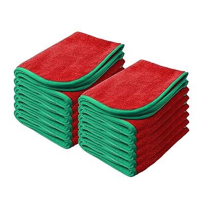 "Nanoskin Red 12 Pack Power Shine Microfiber Towel, w/Green Silk Edge, 16"" x 24"" [NAM-PS380R-12], 12 Pack: Automotive"