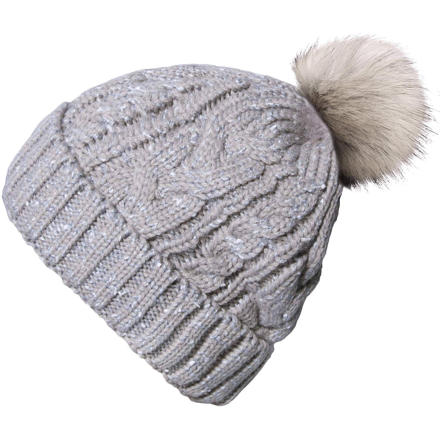 77fa9f117c5 YSense Women Winter Warm Cable Knit Beanie Hats Newsboy Cap Visor with  Sequined Flower (A-02(Gray)) at Amazon Women s Clothing store