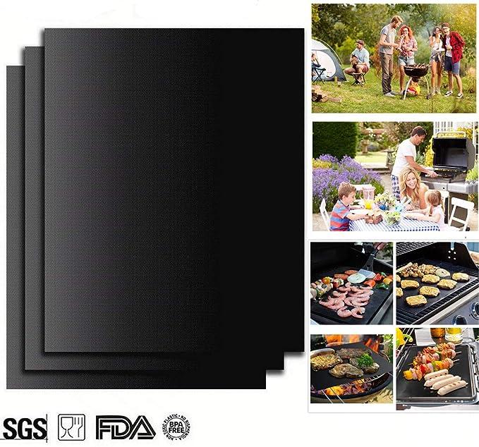4 opinioni per Barbecue Grill Mat, Set di 3 Stuoie Antiaderenti per Grill Forno Liner Cottura