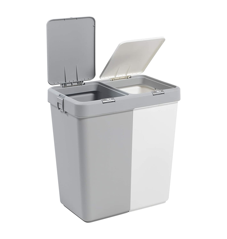 """2 Secciones 1,6 galones una lavander/ía Grande Cesta /€ /""""Basura Extra Bin Gris Blanco Inc. Mabel Home Pl/ástico de lavander/ía Cesto con Tapa"""