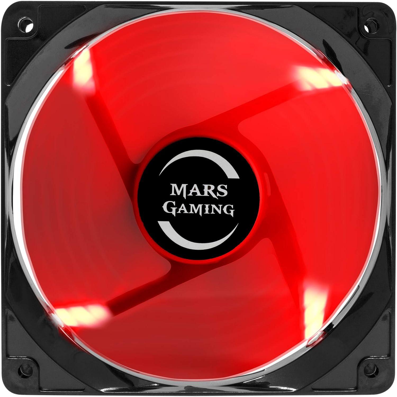Mars Gaming MF12, Ventilador para Caja PC Gaming, Iluminación LED, Negro/ Rojo