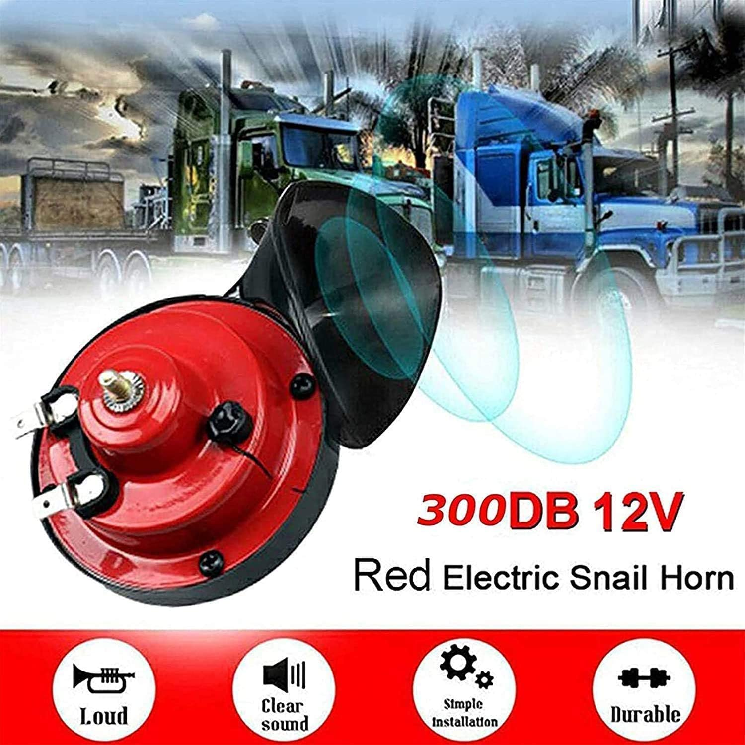 B1E3A1U4TY Turbohorn 300DB 2021 New Generation Train Horn for Cars 2 Pack 12v Loud Treble and Bass Air Horn for Truck 300 DB Train Horn for Trucks The Loudest Horn Ever