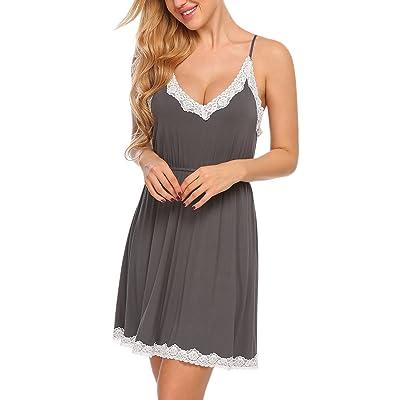 Ekouaer Women's Sleepwear Sexy V-Neck Lace Chemise Full Slip Nightgown S-XXL at Women's Clothing store