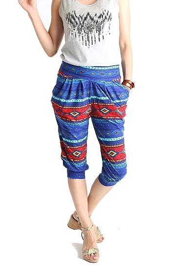 58dbbd5b0ec951 LA12ST Women's Stripe Tribal Aztec Navajo Chevron Spring Floral Premium  Ultra Soft Harem Capri, Blue/Red, One Size at Amazon Women's Clothing store: