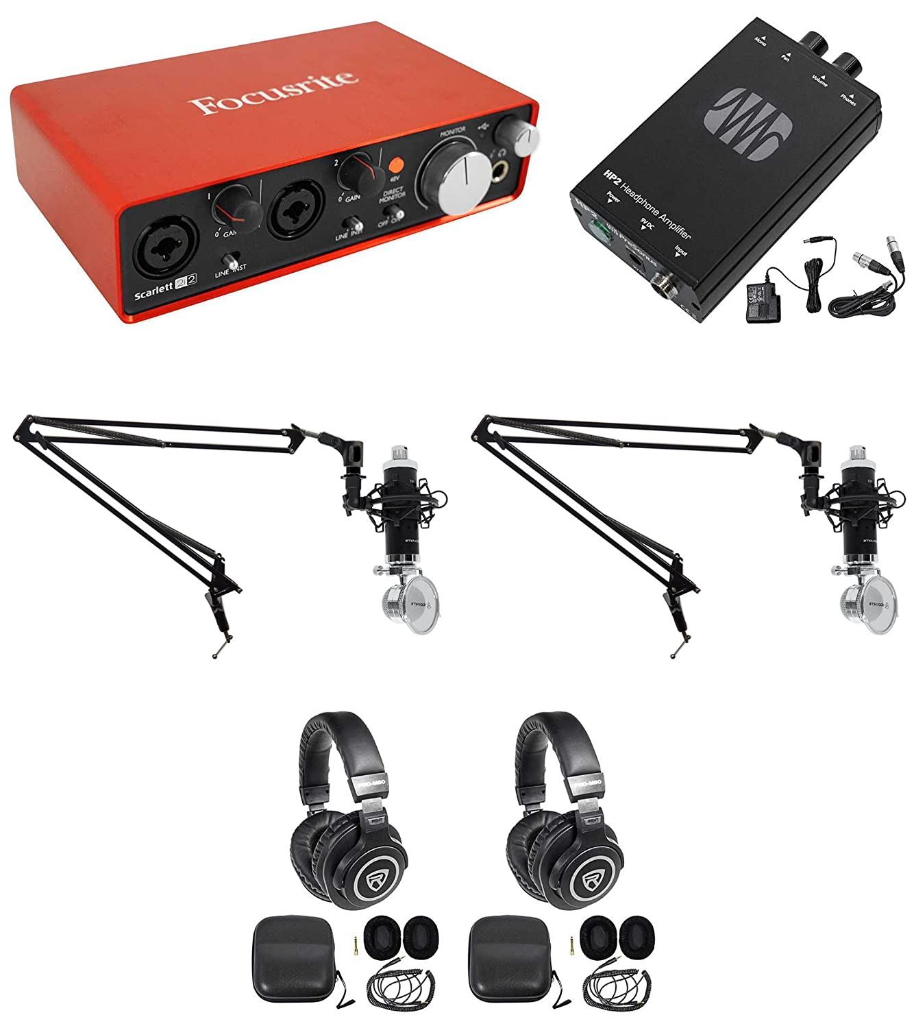 Rockville Podcasting Podcast Recording Bundle W 2 Mics Audio Signal Generator 1khz 22khz Headphones Booms Musical Instruments