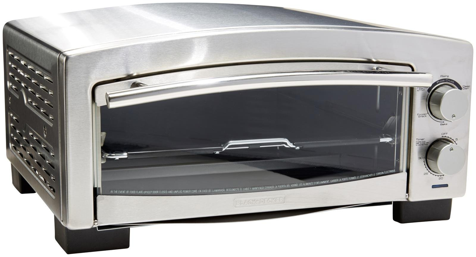 BLACK+DECKER P300S 5-Minute Snack Maker, Pizza Oven, Toaster Oven, Stainless Steel