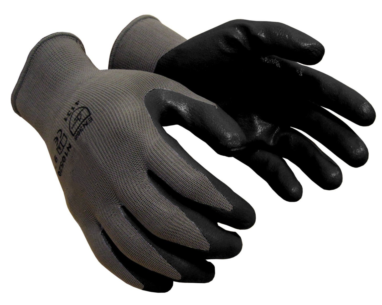 Azusa Safety N10520 13 Gauge Knit Gray Nylon Safety Gloves, Black Nitrile Foam Textured Coated, Medium (Pack of 12 Pairs)