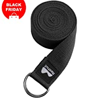 REEHUT D-Ring Buckle Yoga Strap 1.8M, 2.4M, 3M - Durable Cotton Adjustable Belts for Stretching, General Fitness, Flexibility and Physical Therapy - Includes Pose Guide E-book