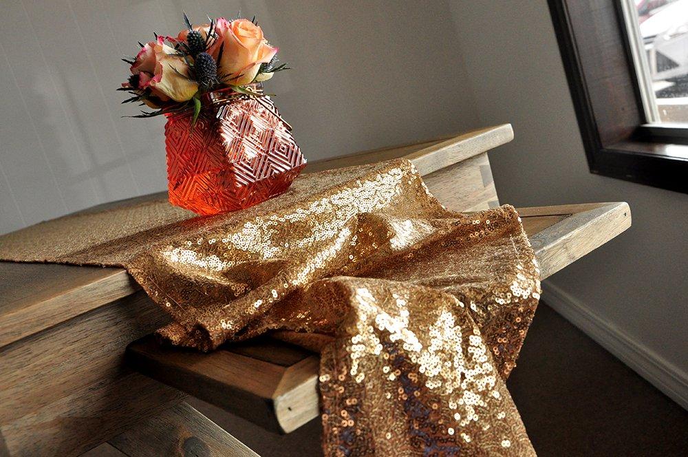 Confetti Momma Table Runner for Wedding in Gold Sequin Table Runner.