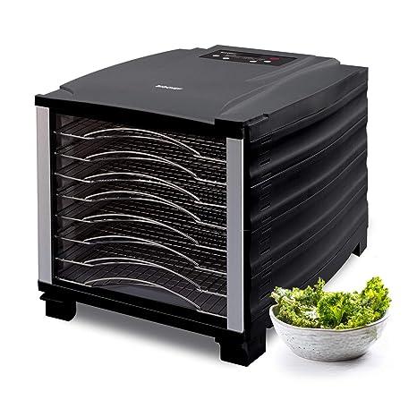 Deshidratador de alimentos BioChef Arizona 8 bandejas de acero inoxidable – Temporizador, puerta transparente, bandejas móviles, BPA Free y Tritan ...