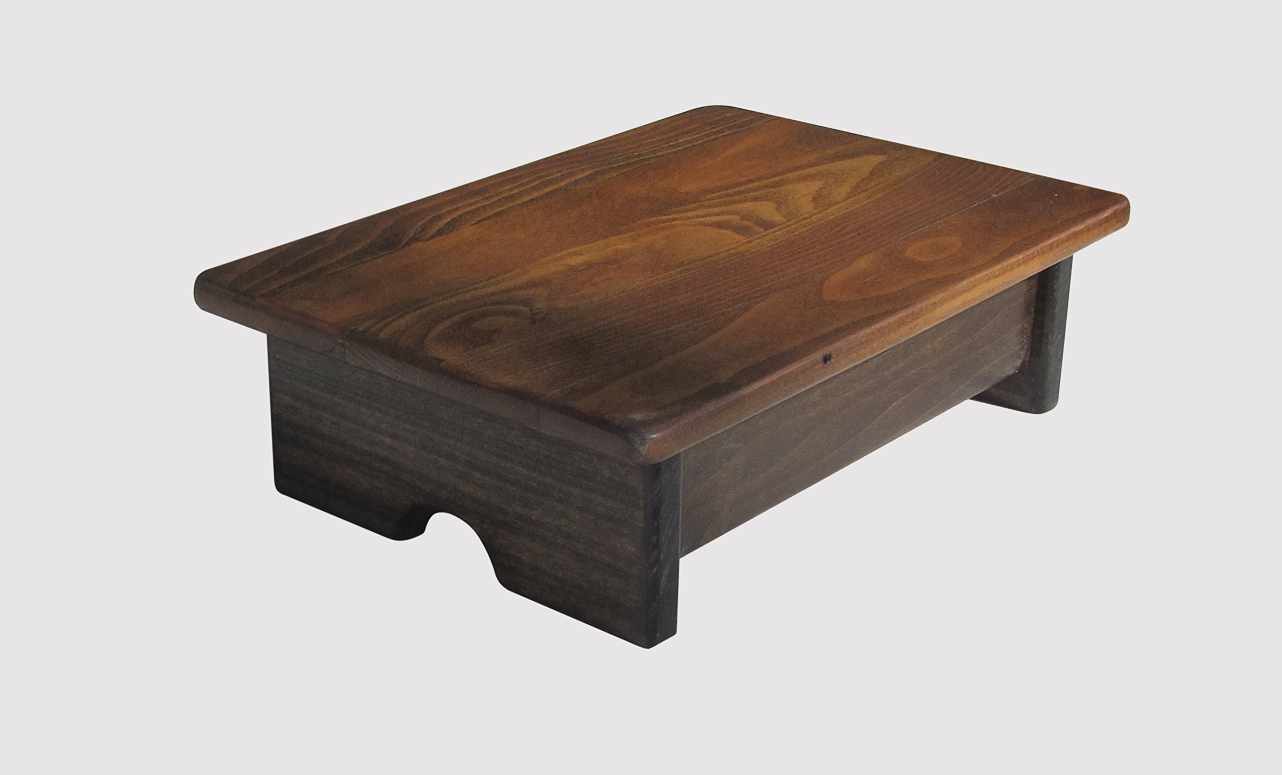 Foot Stool Poplar Wood 4'' Tall Salvaged 100 Year Old Wood (Made in the USA) (Walnut Stain)