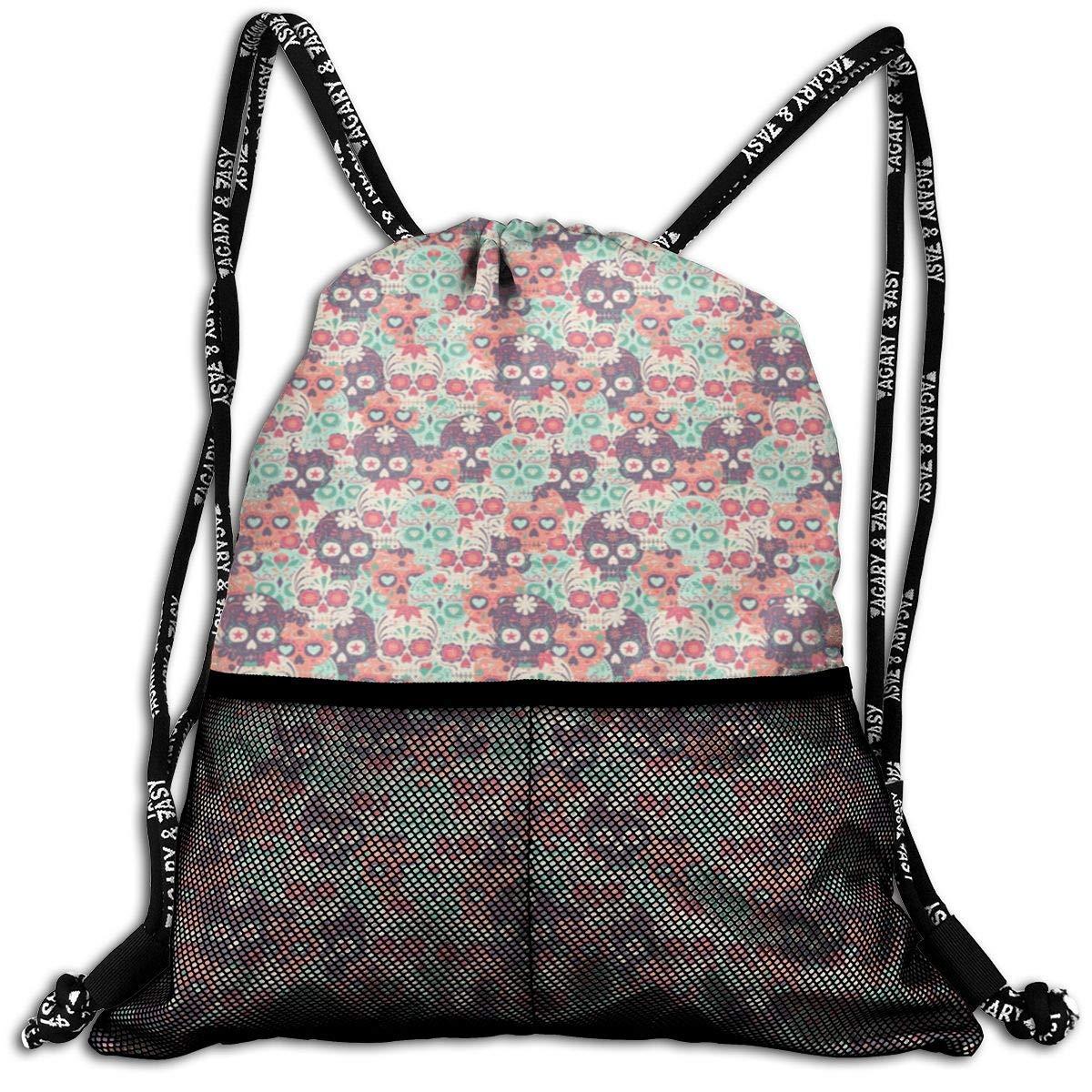 LINGJIE Lightweight Foldable Large Capacity JGMRKD Unisex Drawstring Bundle Casual Rucksack with Mesh Traveling Backpack Bag Sugar Skull
