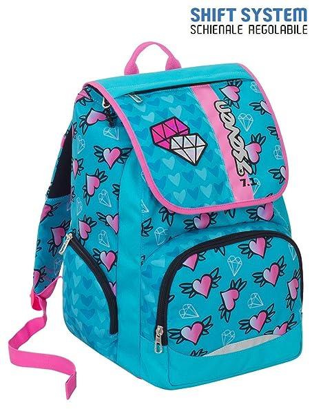 5c0196a705 Zaino scuola SEVEN - SHIFTY GIRL - Azzurro Rosa - INNOVATIVO sistema di  regolazione spallacci in
