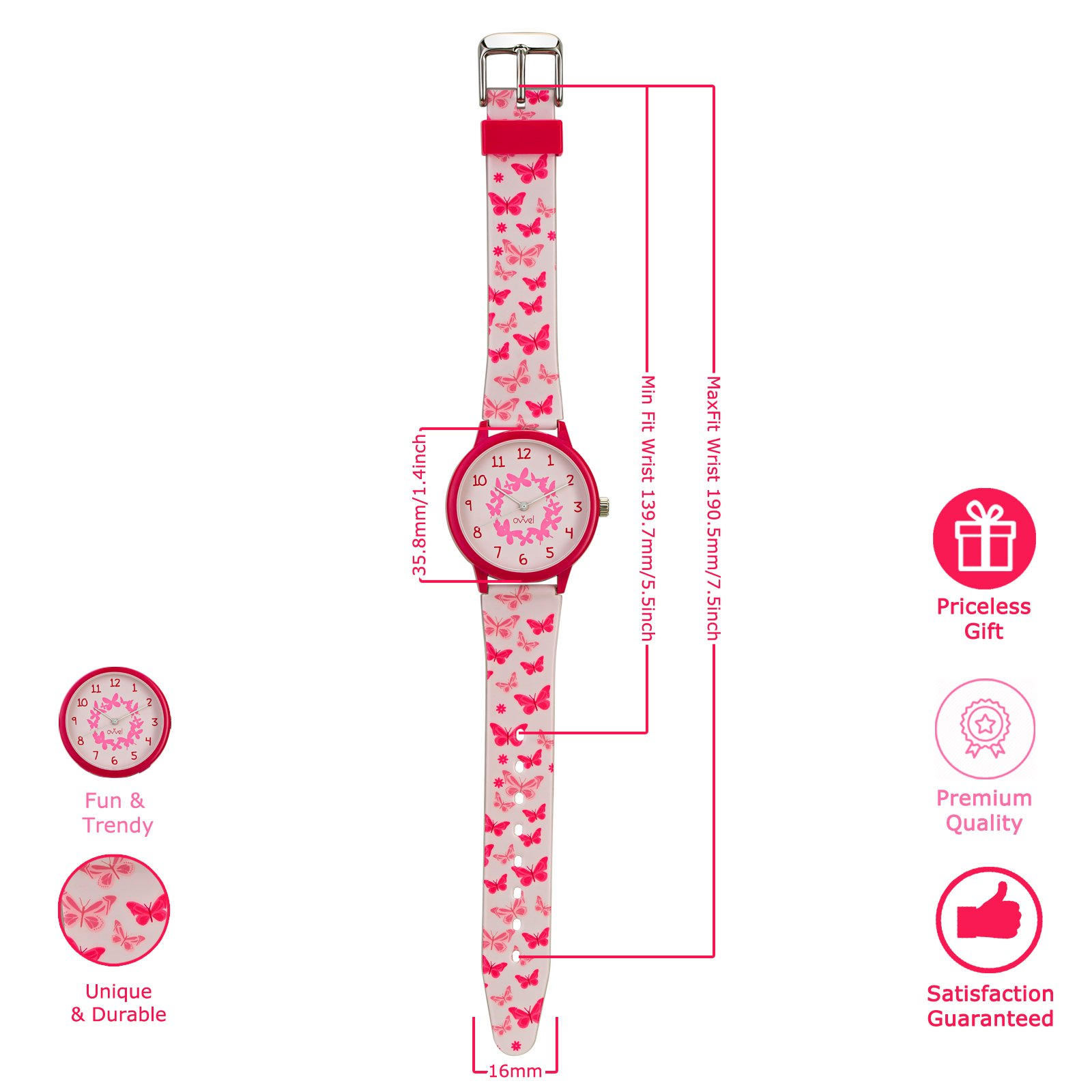 Ovvel Girls Watch - Pretty and Cute Kids Wrist with Teaching Analog Display Time Teacher - Japanese Quartz Movement - Pink Butterfly Design by Ovvel (Image #6)