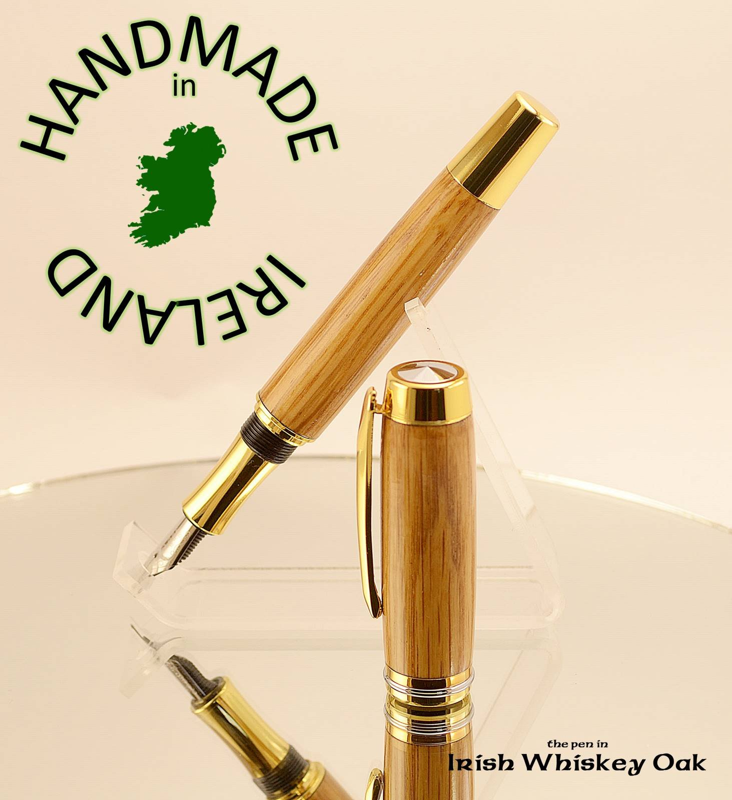 FREE Desk stand with our Irish whiskey barrel Oak gold Shannon fountain pen all handmade in Cavan Ireland writers gift ink pen dip pen nib pen looking for something different, you have found it