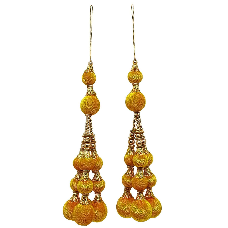 Blue and Metallic Gold Beaded Velvet Tassels Sari Latkans Craft Supply Sewing Accessories By 1 Pair