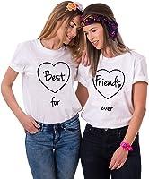 Mejores Amigas Camiseta T-Shirt BFF 2Piezas 100% Algodón Impresión Corazón Best Friends Forever Camisa para Mujer Hermana con Manga Corta
