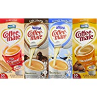 Coffee Mate Liquid .375oz, 4 Flavor Variety 200 Count including Original, Cafe Mocha, French Vanilla & Hazelnut