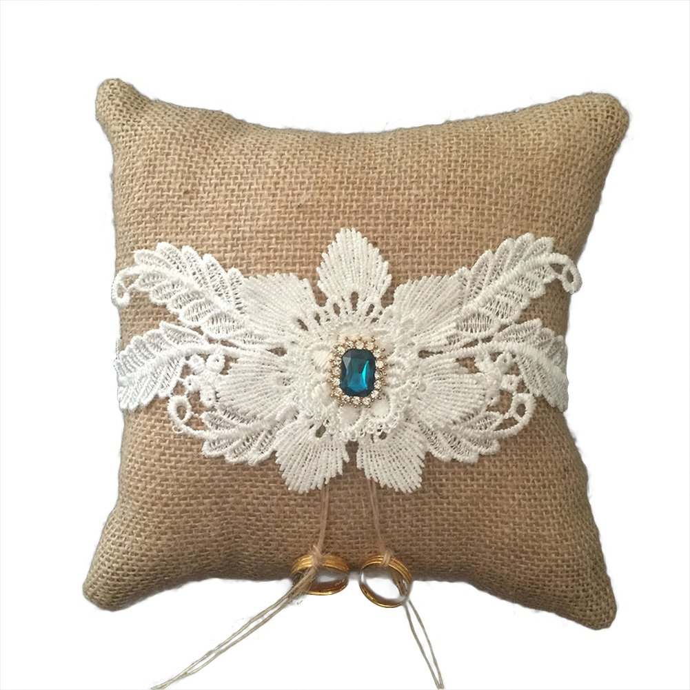 Lace Pearl Embroided Linen Flower Wedding Ring Bearer Pillow 7.8 Inch x 7.8 Inch (Flower Blue Rhinestone)