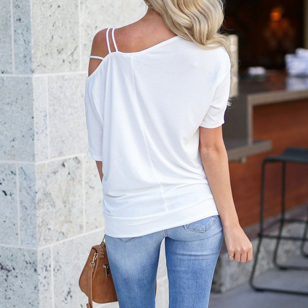ad263df5 Hatoys Women's Solid Asymmetrical Neckline T-Shirt Tops Cold Shoulder Strap  1/2 Sleeved Blouse at Amazon Women's Clothing store: