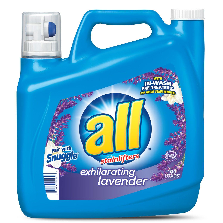all Liquid Laundry Detergent, Exhilarating Lavender, 150 Fluid Ounces, 100 Loads