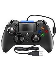 PlayStation 4 - PS4 Controller PICTEK Wired Gaming Gamepad PlayStation 4 Joysticks mit Mikrofon und Dual-Vibration-Turbo für PS4 / PS3 / PC (Windows XP / 7 / 8 / 8.1 / 10)/ Android / Steam-Schwarz