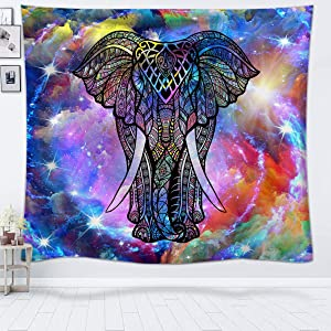 """Psychedelic Tapestry Hippie Elephant Tapestry Wall Hanging Colorful Tie Dye Tapestries Trippy Animal Wall Tapestry for Bedroom Living Room Dorm - 80"""" x 60"""""""