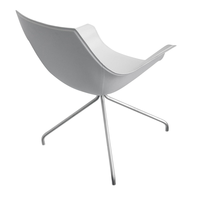 la palma Cox Armlehnstuhl drehbar, weiß Leder Sitzfläche gepolstert Gestell edelstahl