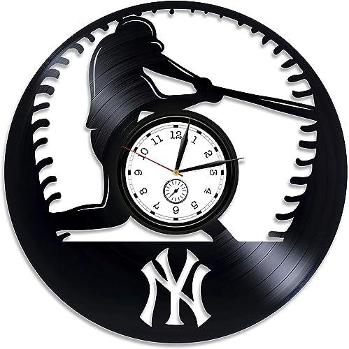 Kovides Baseball Clock Sport Gift Baseball Wall Clock Large MLB Baseball Vinyl Clock Baseball Vinyl Wall Clock Baseball Vinyl Record Wall Clock Sport Clock Baseball Gift