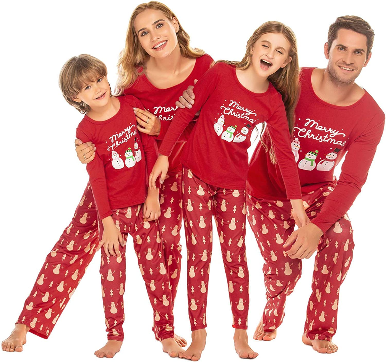 Dad Mom Kids Ekouaer Christmas Pajamas Matching Family Pjs Long Sleeve Sleepwear Soft Nightwear