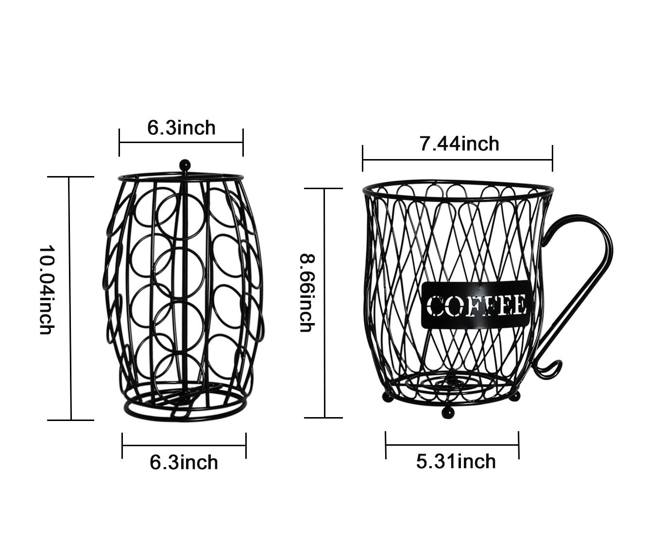 PAG Coffee Pod Holder with Storage and Metal Wire Mug Fruit Basket, Black by PAG (Image #5)