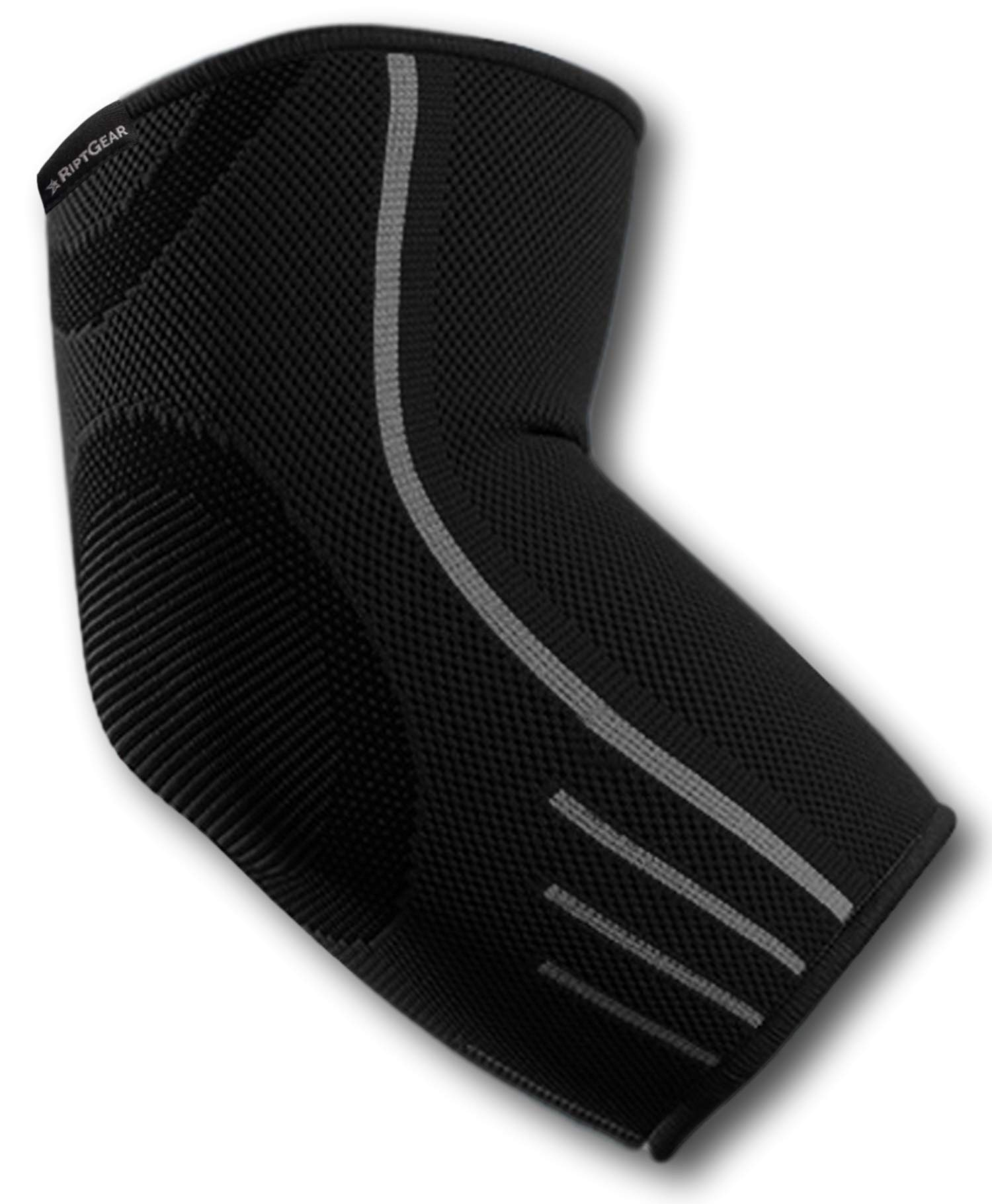 RiptGear Elbow Brace Compression Sleeve for Men and Women - Arm Support for Tendonitis, Arthritis, and Bursitis - Elbow Brace for Golfers Elbow, Tennis Elbow, Weightlifting, Sports (Large) by RiptGear