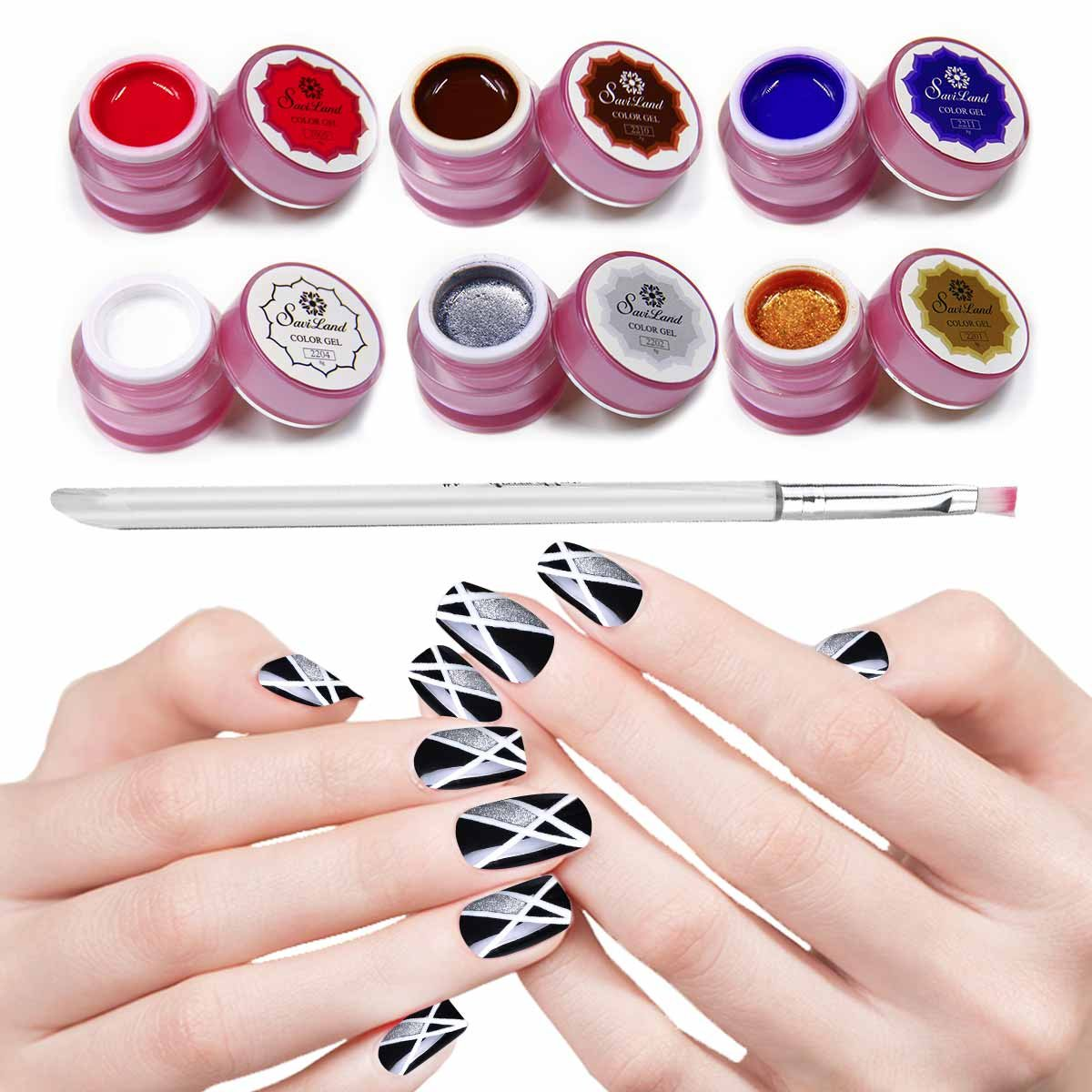 Amazon.com : Saviland 6 Colors Nail Art Painting Nail Gel Polish ...