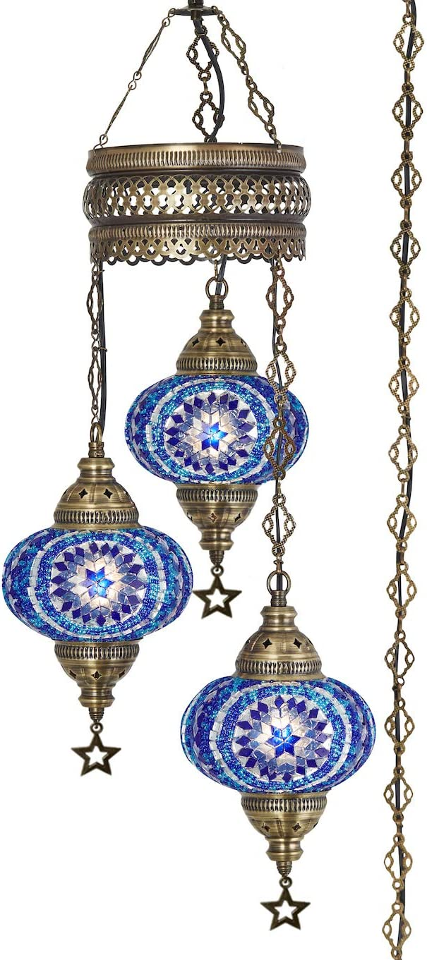 Demmex 2019 Turkish Moroccan Mosaic Hardwired OR Swag Plug in Chandelier with 15feet Cord Cable Chain 3 Big Globes Blue Space Blue Plug in