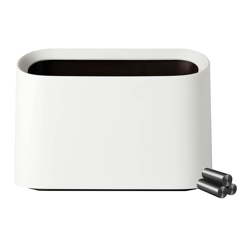 Mini Countertop Wastebasket Trash Can, Makeup Holder Vanity Bathroom Kitchen Car Desktop Office, with 60 Plastic Bags (White)