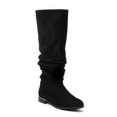 HERIXO Damen Schuhe 2 in 1 Overknee hoher weicher Stiefel