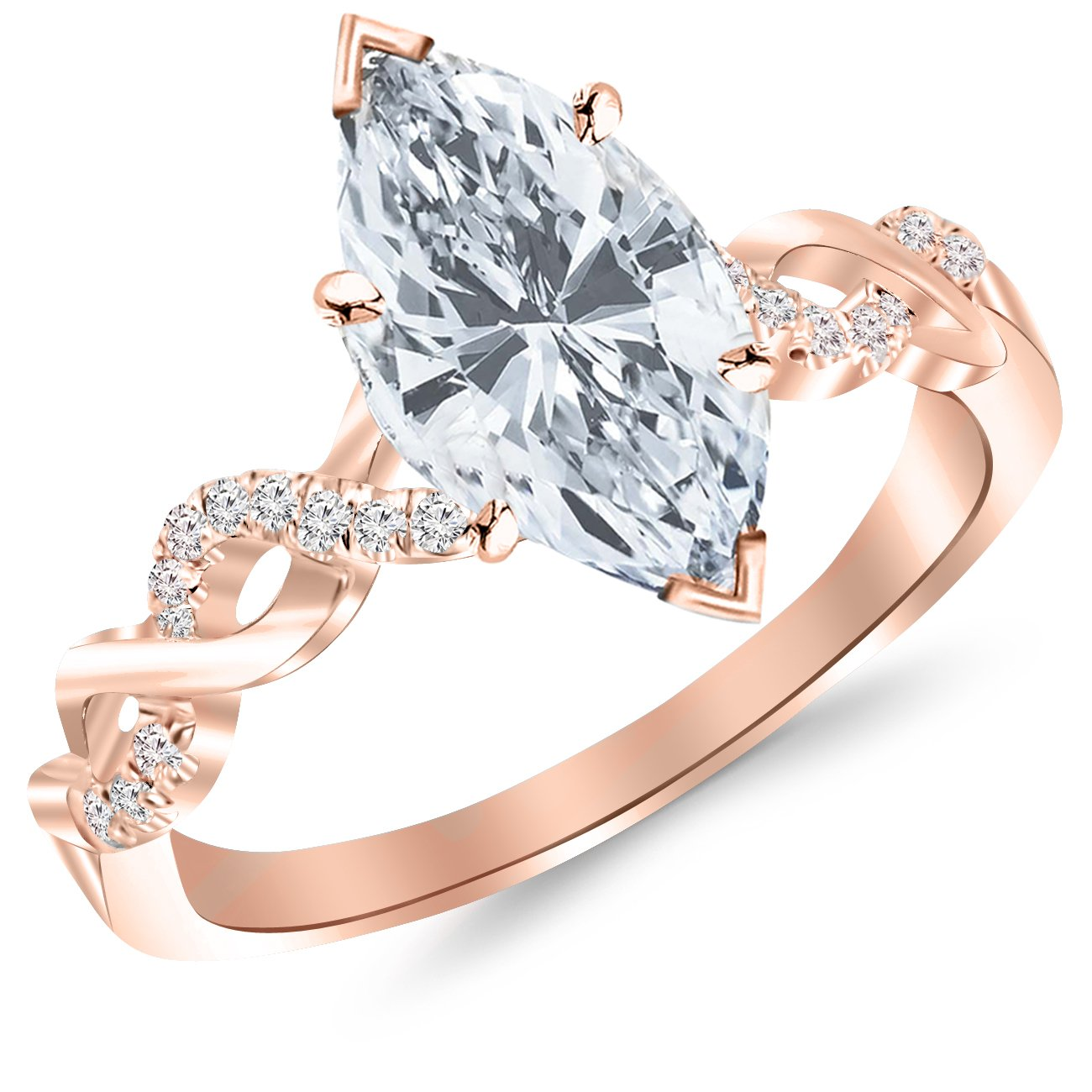 Rose Gold TPisting Infinity Gold and Diamond Split Shank Pave Set Diamond Engagement Ring Pith a 0.61 Carat Marquise Cut G-H Color SI2 Clarity Center Stone