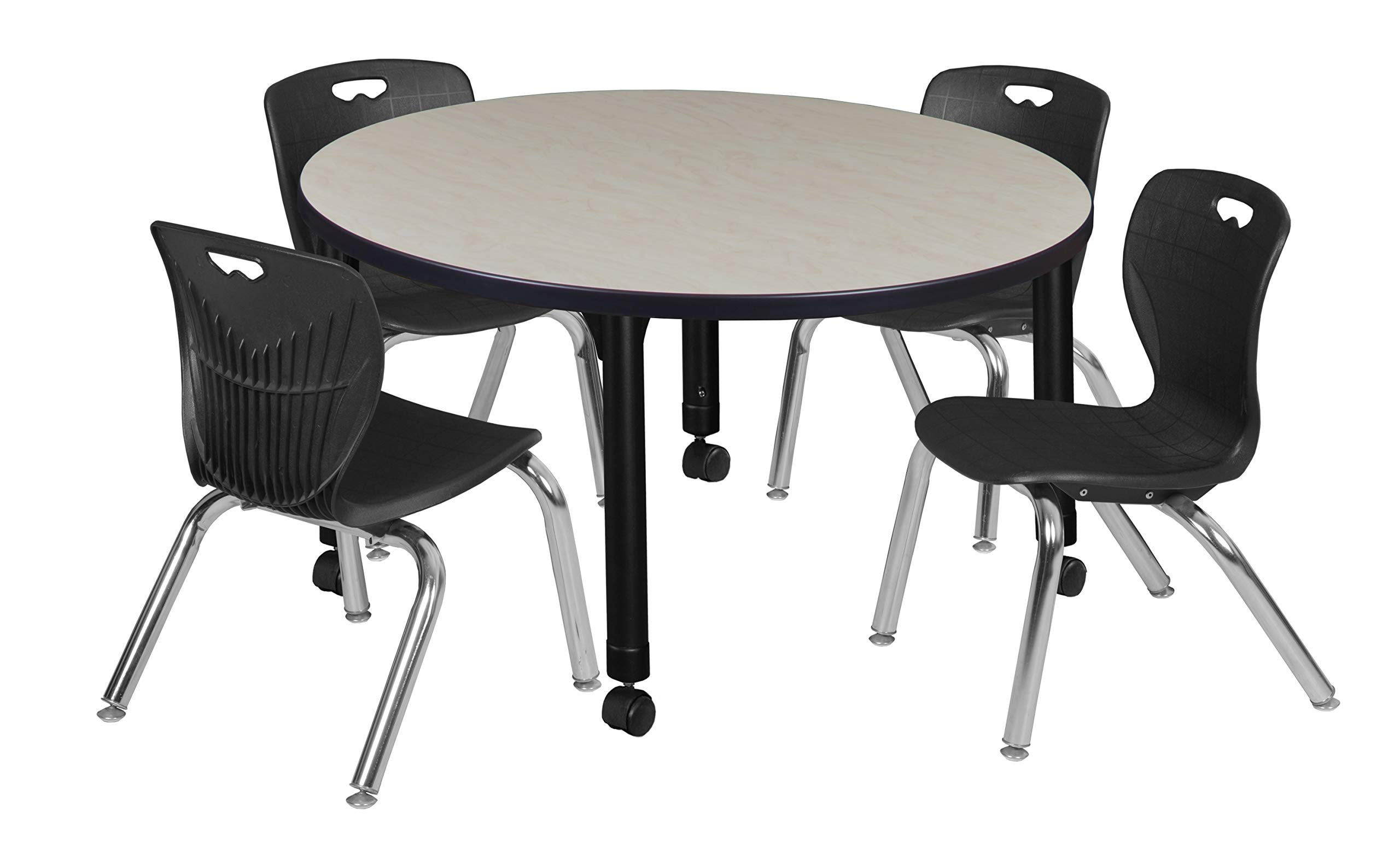 Regency TB42RNDPLAPCBK45BK Kee Height Adjustable Mobile Classroom Table Set with Four 12'' Andy Chairs, 42'', Maple/Black by Regency