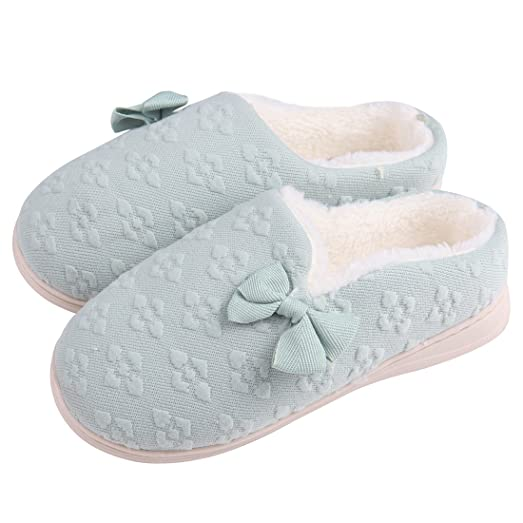 Women Pink Cozy Cotton Fuzzy Floral Slippers Memory foam Non Slip on Indoor Home Shoes