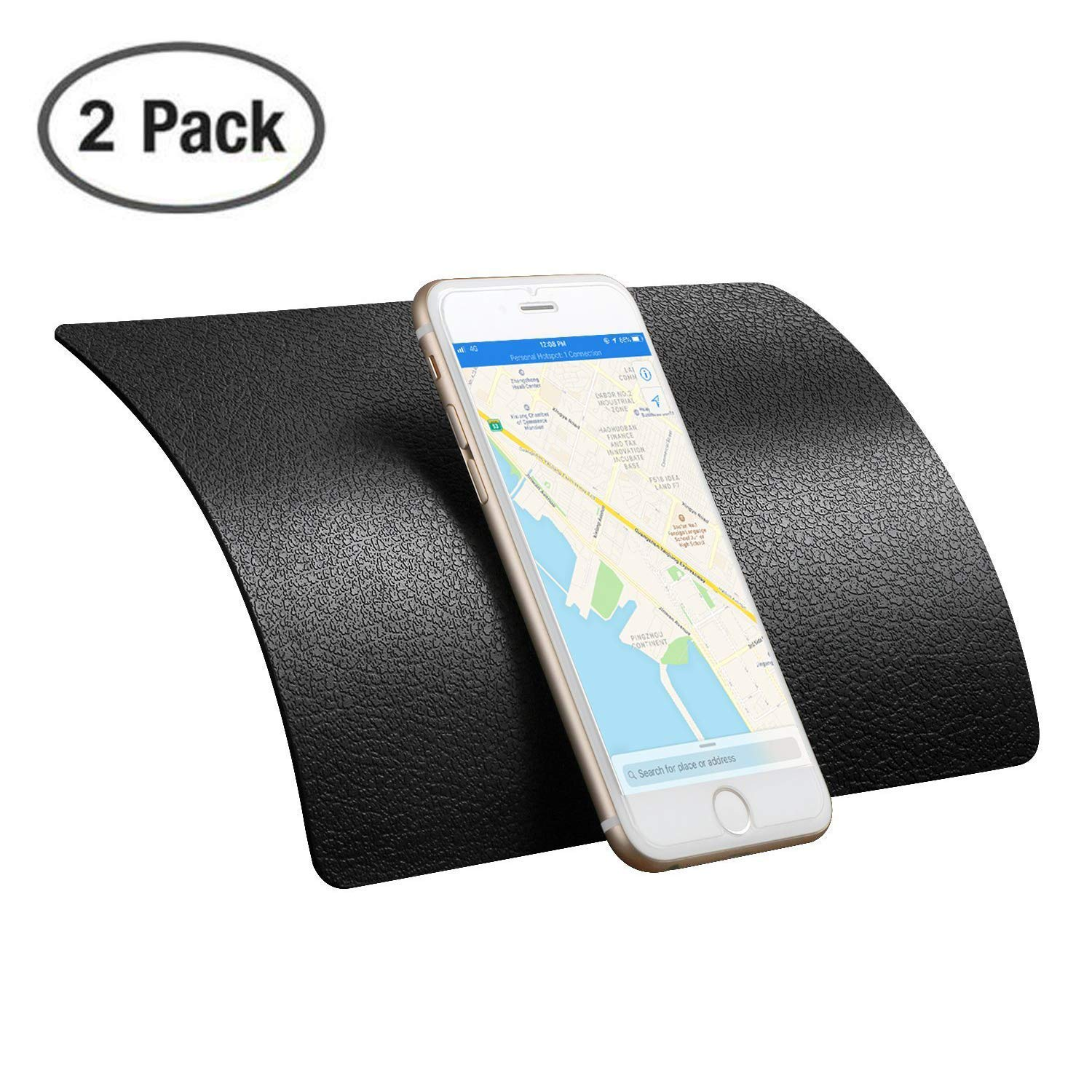 Karlor 2 Pack Sticky Anti-Slip Gel Pads for Cell Phones, Premium Non-Slip Car Dashboard Mat for Cell Phones, Sunglasses, Keys, Speakers,Coins and More-Black (Large Size 8.9 X 5.7 inch) by Karlor
