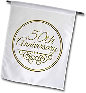InspirationzStore Occasions - 50th Gold Text for Celebrating Wedding Anniversaries - 50 Years Married Together - 18 x 27 inch Garden Flag (fl_154492_2)