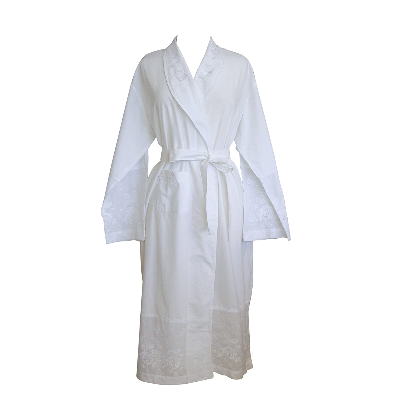 The Irish Linen Store Womens Julia Cotton Dressing Gown White