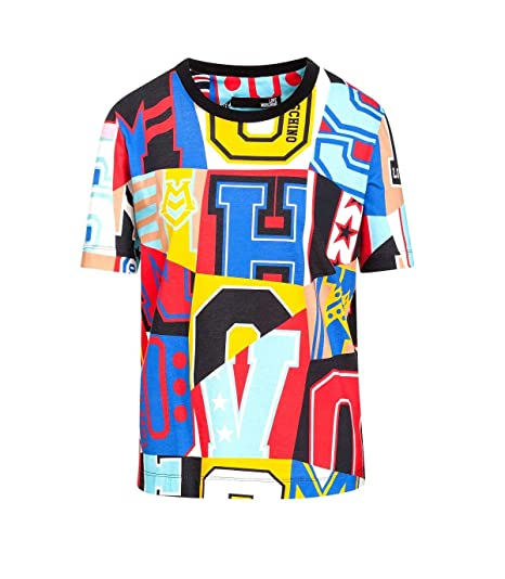 a63a0fbcccb9d3 Love Moschino T-Shirt Donna w4f1500m4009 0008 Multicolor con Stampa  Lettering ss19: Amazon.co.uk: Clothing