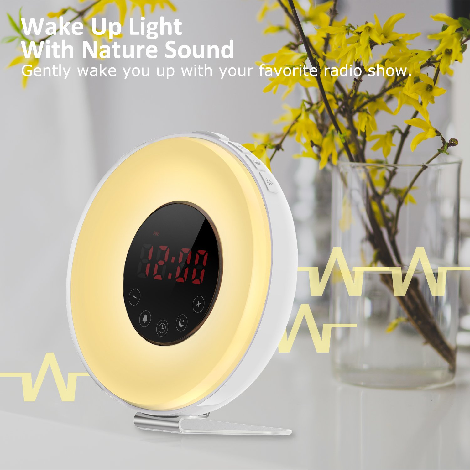 Wake Up Light Alarm Clock,Lobkin Sunrise Simulator Digital Clock with 7 Colors Light,Nature Sounds with FM Radios,Touch Control and USB Charger