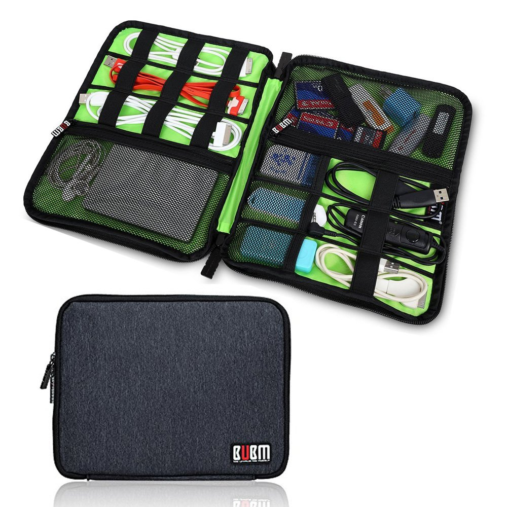 Electronics Organizer Travel Cord Cable Pouch Case Falsh Hard Disk, Cables, USB, Memory Cards, Phone Charger, Power Bank Carry Case(One Layer Black)