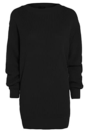 f0f864c8186 Womens Long Sleeve Oversized Ladies Chunky Knitted Long Sweater Jumper Dress  Top  Amazon.co.uk  Clothing